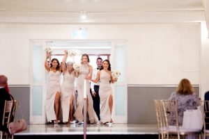 bridesmaids making an entrance
