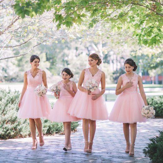 4 Bridesmaids in Pink Dresses