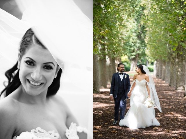 two images- one, bride in black and white, two, bride and groom on tree-lined walkway