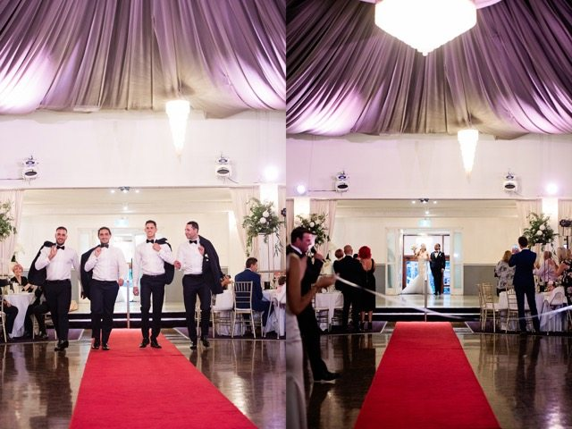 two images- best men waling and bride and groom entring room