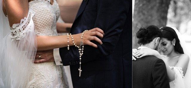 brides and grooms arms with rosary on bride arm. bride and groom foreheads touching