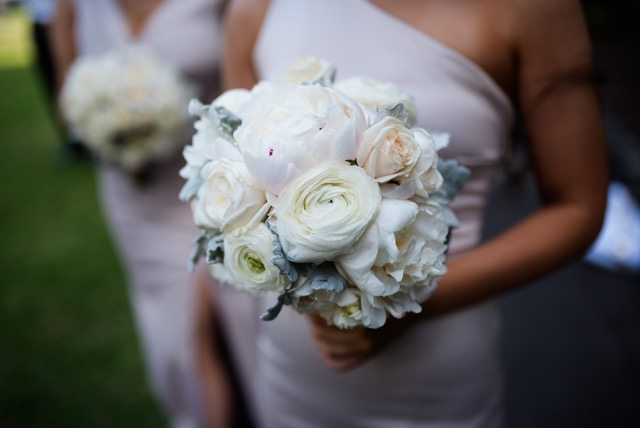 floral bridal bouquet in shades of white