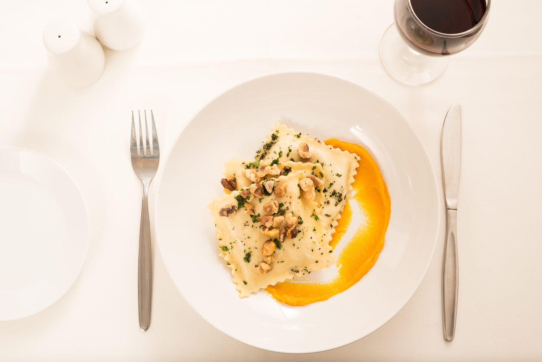 ravioli with butternut sauce